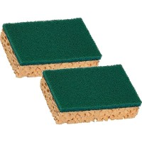 Lot de 2 éponges grattantes et absorbantes de 11 x 7 cm