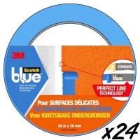 Adhésif masquage Blue 3M pour surfaces délicates L:50 m x l:36 mm (x24)