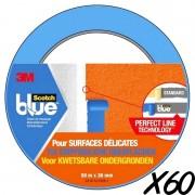 60 Adhésifs masquages Scotch Blue 3M pour surfaces délicates L:50 m x l:36 mm
