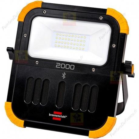 Projecteur portable LED BLUMO BRENNENSTUHL rechargeable, avec haut-parleurs Bluetooth 2100 lumens