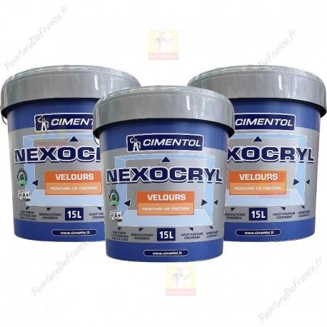 pack de 3 Peinture CIMENTOL Nexocryl Velours BLANC 15L