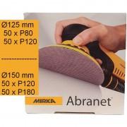 200 disques Abranet MIRKA ∅125 mm P80 et P120 / ∅150 mm P120 et P180