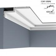 Corniche ORAC C391 STEPS profil moderne et épuré, les angles biseautés assurent une subtile ligne d'ombre 2 m