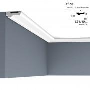 Corniche ORAC C360 fine, plate et intemporelle avec une ligne d'ombre à l'arrière 2 m