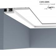 Corniche ORAC C395 STEPS moderne et épuré ,l'angle biseauté confère une subtile ligne d'ombre 2 m