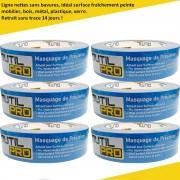 Adhésif masquage de précision OUTIL PRO surfaces délicates 30 mm x 50 m (pack de 6)