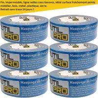 Adhésif masquage de précision large OUTIL PRO surfaces délicates 38 mm x 50 m (pack de 6)