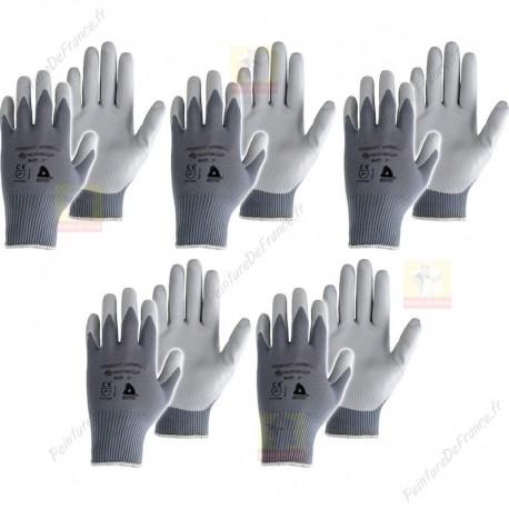 Lot de 5 paires de Gants travaux peinture en polyuréthane gris T10