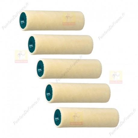 VELOURS lot de 5 rouleaux 100 mm ROTA Laqueur Travaux soignés tendu, Pure laine 4 mm