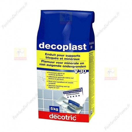 Enduit résiné dur DECOTRIC decoplast V30 résiste aux chocs sur murs et sol 5KG